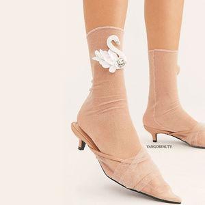 Swan Song Sheer Slouch Socks